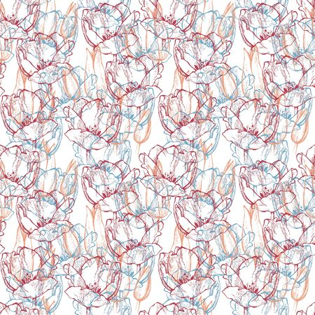 Seamless floral pattern, hand drawn pink, fuchsia red and blue tulips. Isolated on white background. Fabric texture. Template for scrapbook.