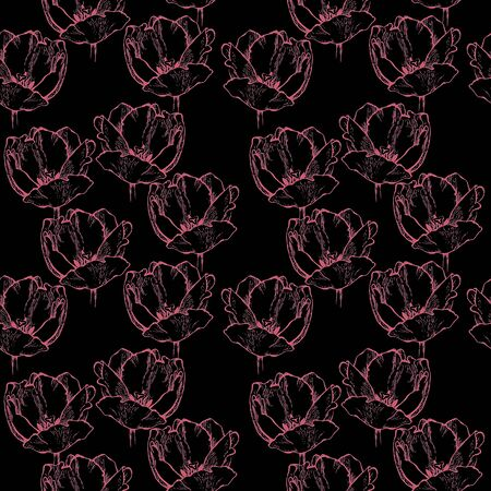 fragrance: Seamless floral pattern, hand drawn coral pink tulips. Isolated on black background. Fabric texture. Template for scrapbook.