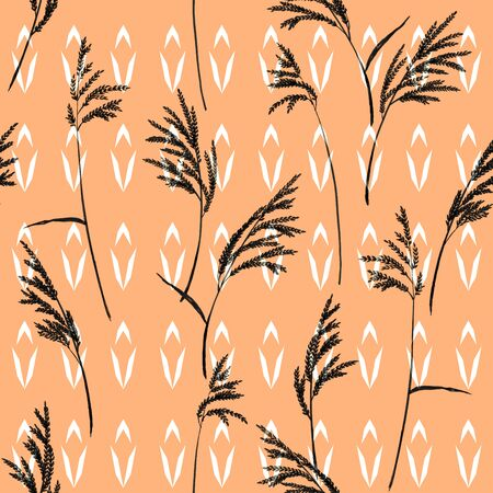 panicle: Grass panicles scattered free. Hand painted texture. Monochrome, black on geometric ornament and beige background.