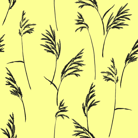 panicle: Grass panicles scattered free. Hand painted texture. Monochrome, on yellow background.