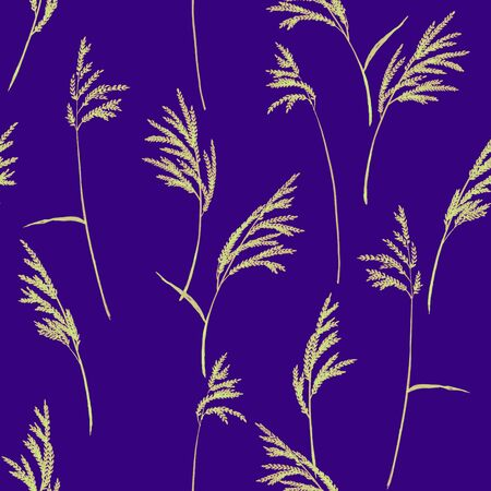 panicle: Grass panicles scattered free. Hand painted texture. Monochrome, on violet background.