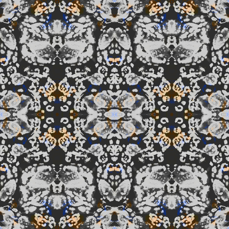 diagonals: Seamless ethnic kaleidoscope pattern. Diagonals and zigzag elements. Monochrome with color accents.