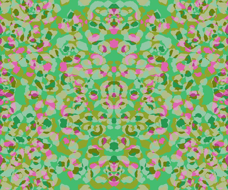 Seamless ethnic tie dye pattern. Floral elements. Colorful batik shades on green background. Stock Photo