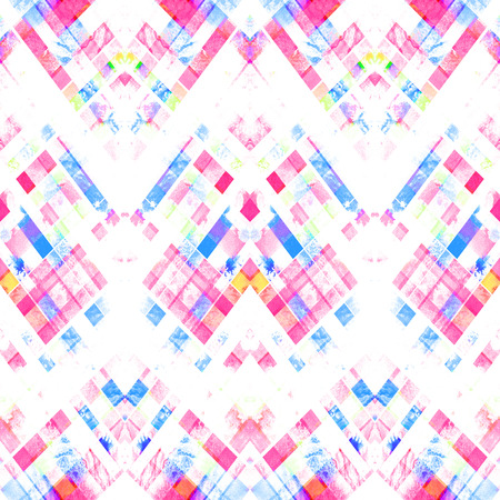 Seamless handmade geometric pattern. Zigzag stripes, diagonal lines and diamonds, batik blue and red colors. Watercolor ethnic background. Stock Photo