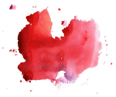 painterly effect: Abstract handmade red and scarlet watercolor splash on white background Stock Photo