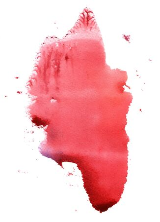 Abstract handmade red watercolor splash on white background