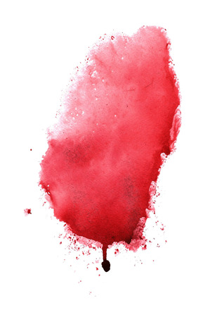 Abstract handmade bright red watercolor splash on white background. Stock Photo
