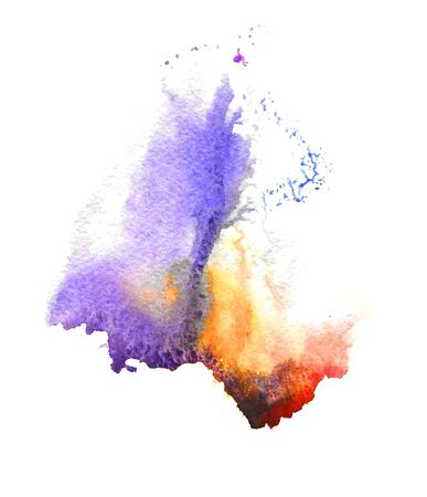 painterly effect: Abstract handmade purple and yellow watercolor splash on white background