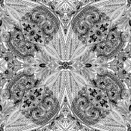 Abstract geometric seamless paisley lace pattern. Traditional oriental ethnic ornament, black outlines on white background. Textile design.