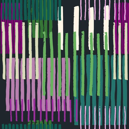 Hand drawn uneven stripes on colorful rectangles, free layout. Pink and green tones on gray background. Textile design.