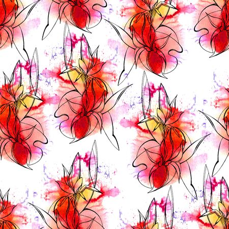 spalsh: Seamless floral pattern. Hand drown irises on watercolor spalsh. Fabric texture. Textile design
