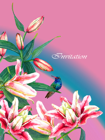 Tropical pink lilies and a hummingbird composition with text Invitation. Isolated on pink and blue background. Floral pattern. Greetinginvitation card. Template for your design.