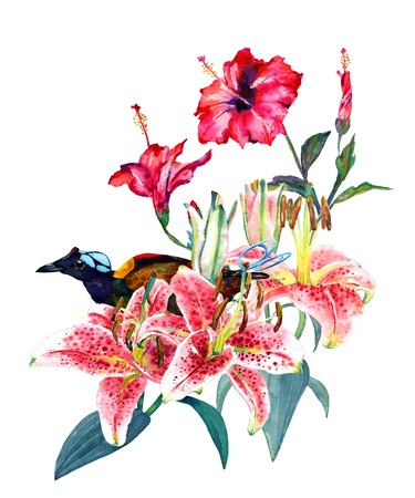 Beautiful tropical bouquet pink lilies, scarlet hibiscus and a bird of paradise.  Isolated on white background. Fashion or stationery, greetinginvitation card Hawaiian style, botanical illustration.