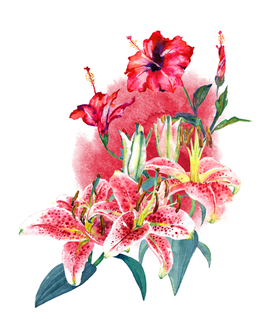 Beautiful tropical bouquet pink lilies and scarlet hibiscus on watercolor splash. Isolated on white background. Fashion or stationery, greetinginvitation card Hawaiian style, botanical illustration. Stock Photo