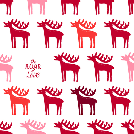 bordeaux: Seamless pattern with roaring stags and text The Roar of Love. Happy Valentines day wallpaper. Bordeaux, red, orange and pink on white background. Handmade vector. Illustration