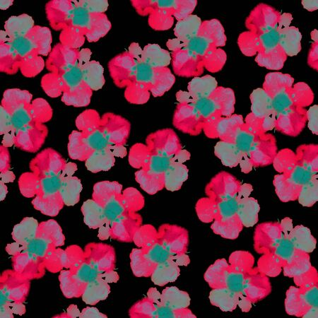 prune: Seamless floral pattern with beautiful watercolor blossom. Hand painted pink flowers on black background, blended effect. Textile design.