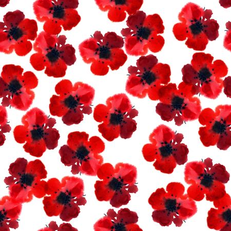 Seamless floral pattern with beautiful watercolor blossom. Hand painted red flowers on white background. Textile design.
