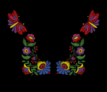 neckband: Vector embroidery floral ethnic neck line design, flowers and butterflies. Fashion wearing.