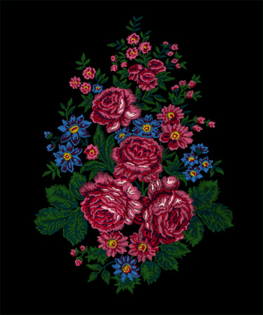 Floral embroidery. Luxurious bouquet with pink roses on black background. Vintage style. handmade vector.