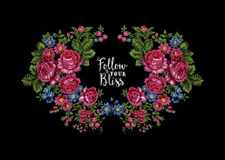 affirmation: Embroidered floral wreath with pink ethnic roses and stitched lettering Follow Your Bliss, on black background. Vintage style.