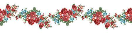 allover: Authentic floral embroidery, red roses border pattern. Vintage style.