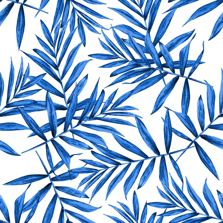 Seamless floral pattern with beautiful watercolor palm leaves. Blue tone jungle foliage on white background. Textile design.