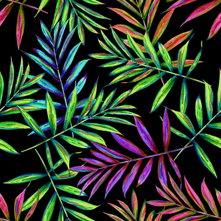 allover: Seamless floral pattern with beautiful watercolor palm leaves. Colorful jungle foliage on black background. Textile design.
