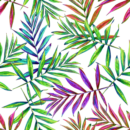 allover: Seamless floral pattern with beautiful watercolor palm leaves. Colorful jungle foliage on white background. Textile design.