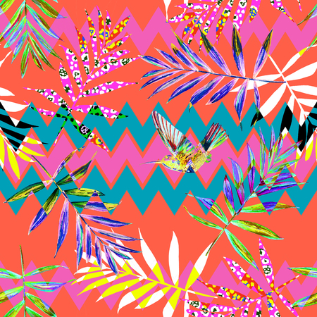 Seamless floral pattern with watercolor palm leaves and a hummingbird. Jungle foliage on chevron background, blended effect. Textile design.