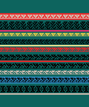 Hand drawn Siberian folk geometric print with tribal motifs of mansi people in authentic colors. Vector ethnic ornament.