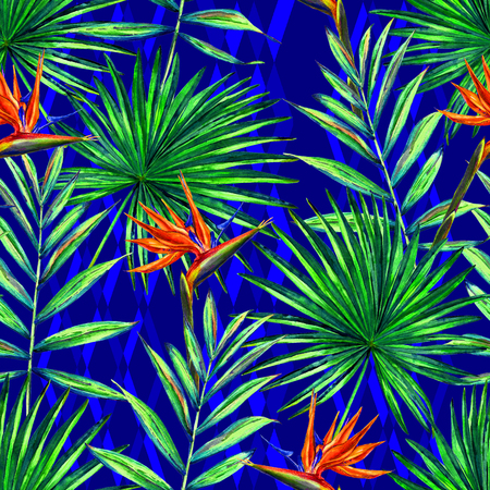 Seamless floral pattern with watercolor palm leaves and strelitzia reginae flowers. Jungle foliage on blue diamond ornamental background. Textile design.