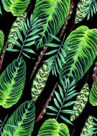 Seamless floral pattern with beautiful watercolor palm and calathea leaves. Colorful jungle foliage on black background. Textile design.