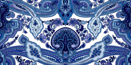 Traditional paisley pattern. Abstract geometric oriental ornament. Blue tones on off white background. Textile design.