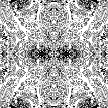 Traditional paisley pattern. Abstract geometric oriental ornament. Black outlines on white background. Textile design.