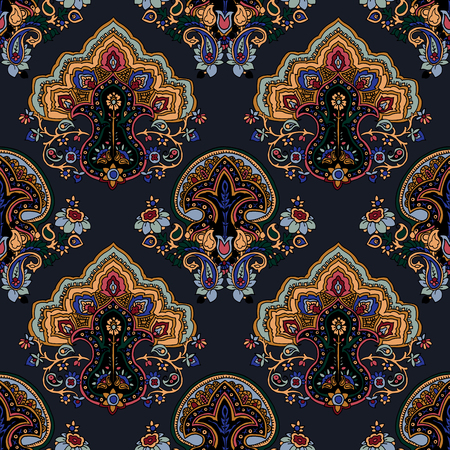 allover: Abstract geometric seamless paisley pattern. Traditional oriental ornament. Vivid colors on gray background. Textile design.