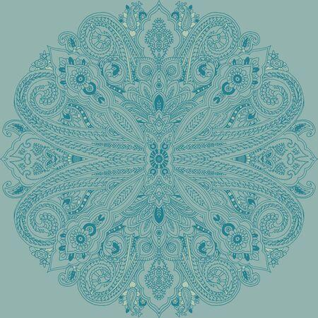 추상 원형 형상 paisley 패턴입니다. 전통적인 동양 만다라 장식입니다. 청록색. 섬유 디자인입니다.