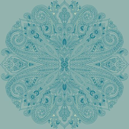 Abstract circular geometric paisley pattern. Traditional oriental mandala ornament. Teal colors. Textile design.