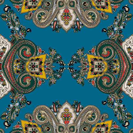 Seamless abstract geometric kaleidoscope paisley pattern. Traditional oriental ethnic ornament, on petrol background. Textile design.