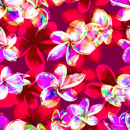 allover: abstract, allover, aquarelle, backdrop, background, beautiful, bloom, blossom, boho, bromelia, colorful, decor, decoration, design, exotic, fashion, floral, flower, foliage, frangipani, garden, graphic, green, illustration, jungle, leaf, natural, nature,  Stock Photo