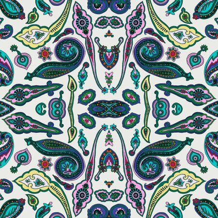 Seamless abstract geometric kaleidoscope paisley pattern.