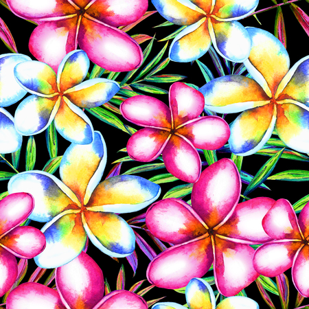 Seamless floral tropical pattern. Hand painted watercolor exotic plumeria flowers and palm leaves, on black background. Textile design.