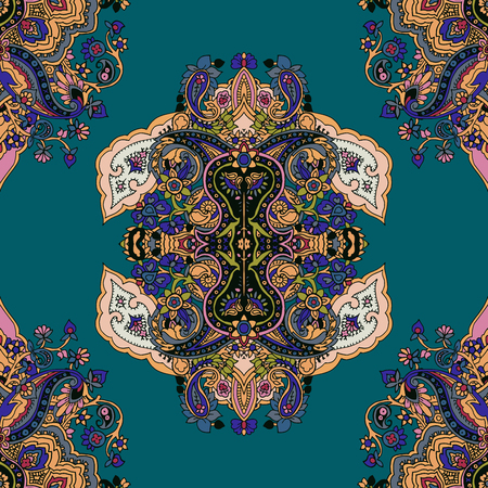 primeval: Seamless abstract geometric paisley pattern with stylized lotus flowers. Traditional oriental ethnic ornament, on teal background. Textile design.
