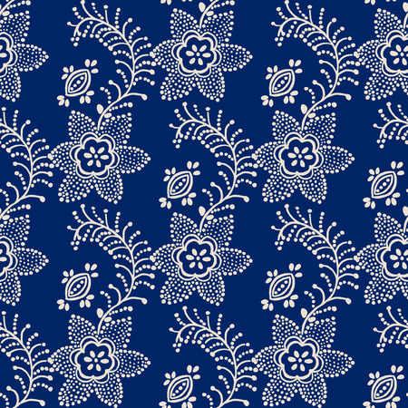 Traditional seamless block printed ornament, handmade Russian motif with blue flowers on ecru  background. Textile design. Illustration