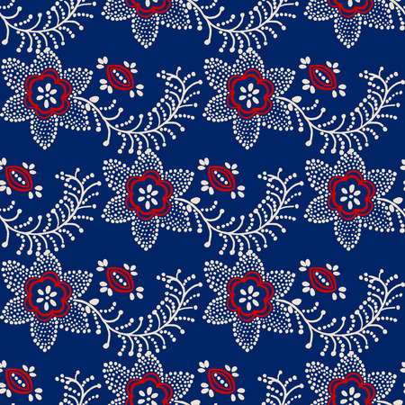 ecru: Traditional seamless block printed ornament, handmade Russian motif with ecru and red flowers on blue  background. Textile design.