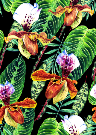 Seamless floral pattern with beautiful watercolor orchids and palm leaves. Colorful jungle foliage on black background. Textile design. Stock Photo