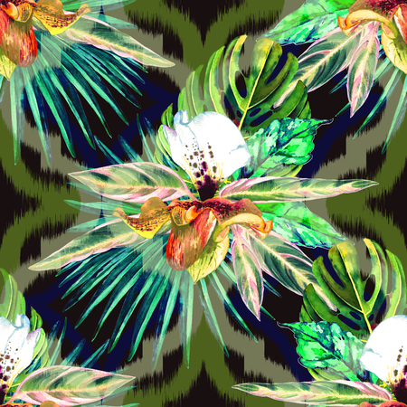 Tropical floral seamless  pattern. Watercolor exotic leaves, monstera, fan palm and orchids. Vivid tones on ogee ornament background. Textile design. Stock Photo