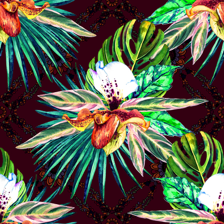 Tropical floral seamless  pattern. Watercolor exotic leaves, monstera, fan palm and orchids. Vivid tones on paisley background. Textile design.