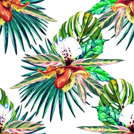 allover: Tropical floral seamless  pattern. Watercolor exotic leaves, monstera, fan palm and orchids. Vivid tones on white background. Textile design.