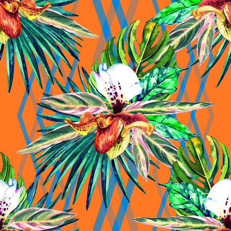 allover: Tropical floral seamless  pattern. Watercolor exotic leaves, monstera, fan palm and orchids. Vivid tones on zigzag ornament background. Textile design.