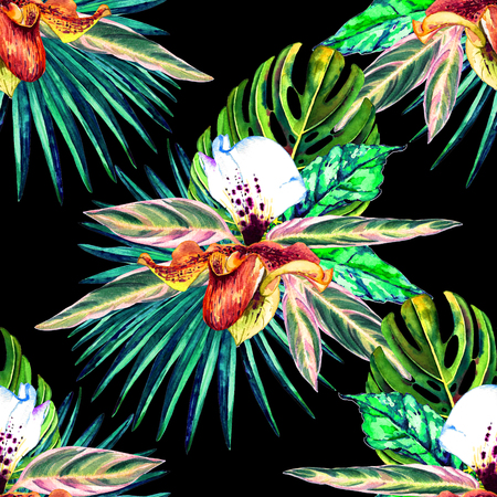 allover: Tropical floral seamless  pattern. Watercolor exotic leaves, monstera, fan palm and orchids. Vivid tones on black background. Textile design.